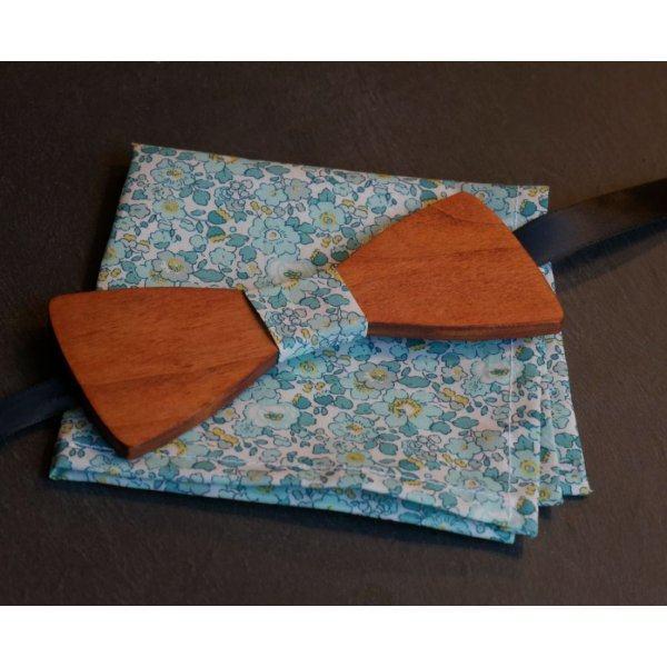Pochette Liberty Vert menthe noeud papillon en bois personnalisable