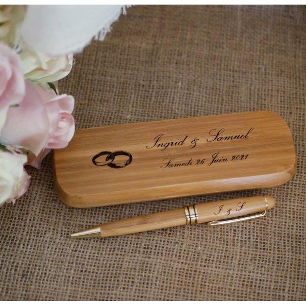 Stylo en bambou gravé dans coffret en bois massif personnalisé