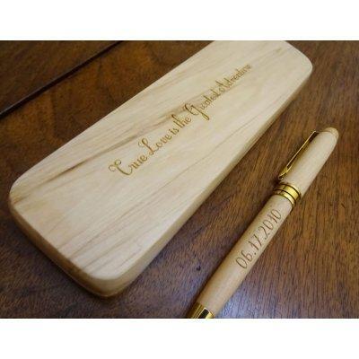 Stylo bois gravé dans coffret personnalisé