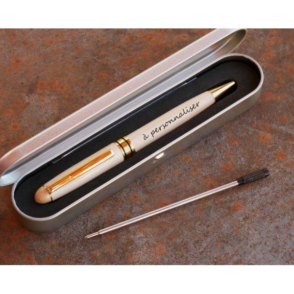 Stylo gravé personnalisé en bois coffret métal