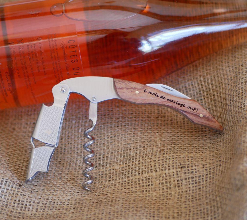 Tire-bouchon limonadier manche en bois gravé à personnaliser
