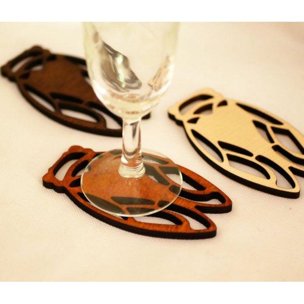 4 Sous verres en bois Cigales en bois à personnaliser
