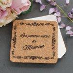 Bloc notes en liège gravé personnalisé cadeau Fêtes des Mères