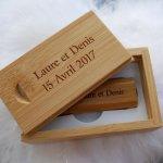 Clé Usb 16 Go dans coffret bois bambou à personnaliser par gravure pour un mariage