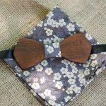 Ensemble Noeud papillon en bois Pochette Liberty Gris L8 Cadeau homme