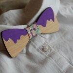 Noeud papillon enfant en bois bicolore à personnaliser