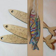 Déco murale Sardines en bois gravée à peindre