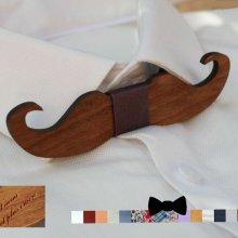 Noeud papillon Moustache en bois noyer à personnaliser